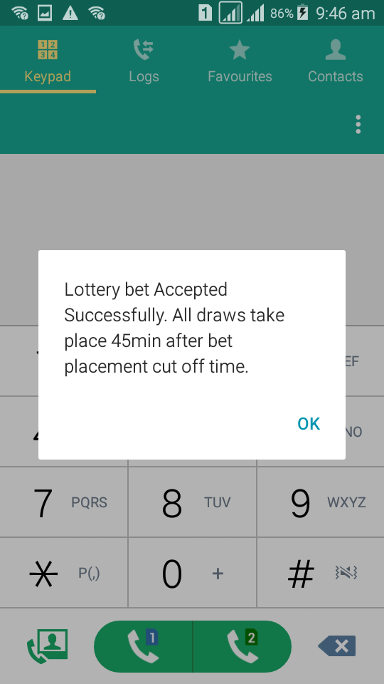 Baba Ijebu on MTN - Lotto bet accepted notification